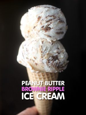 Peanut Butter Brownie Ripple Ice Cream Cone