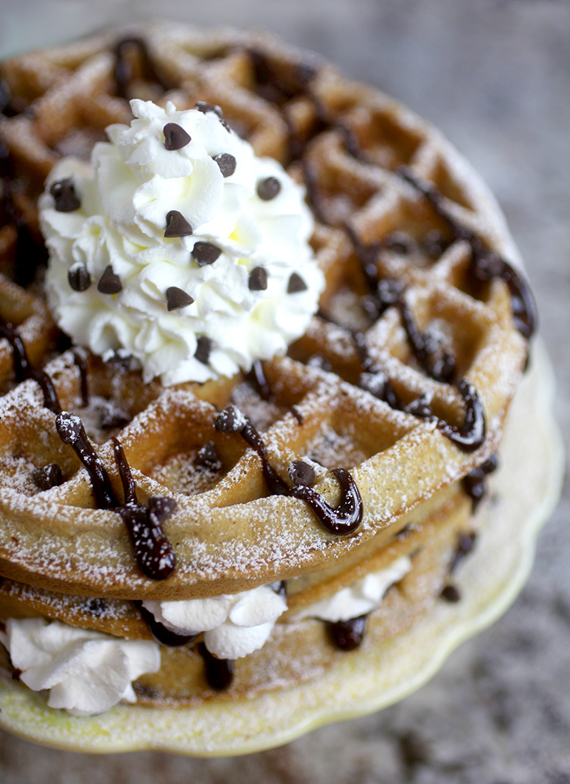 Whipped Cream topped wafffles