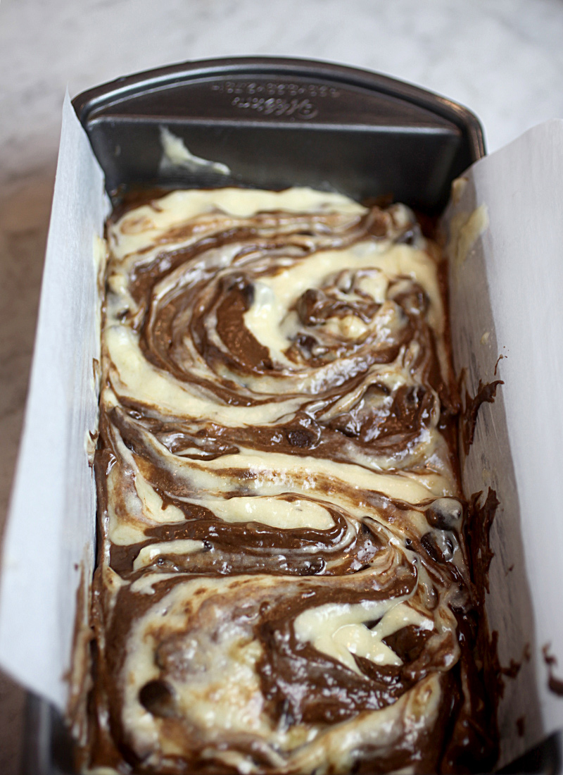 Swirled Banana Bread Batter
