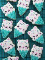 Ice Cream Cone Cat Cookies