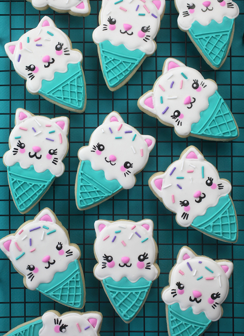 Ice Cream Cone Cat Cookies