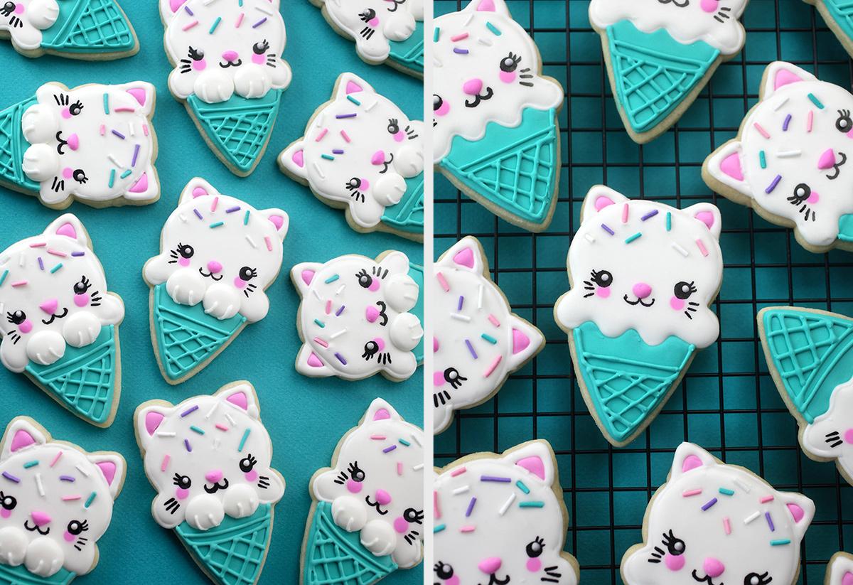 fd9019838 Ice Cream Cone Kitty Cookies – bakerella.com