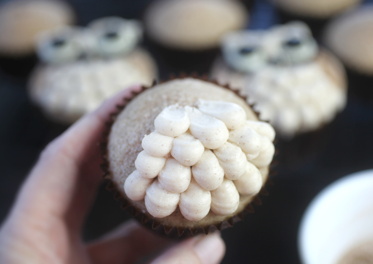 Piping Owl Cupcakes