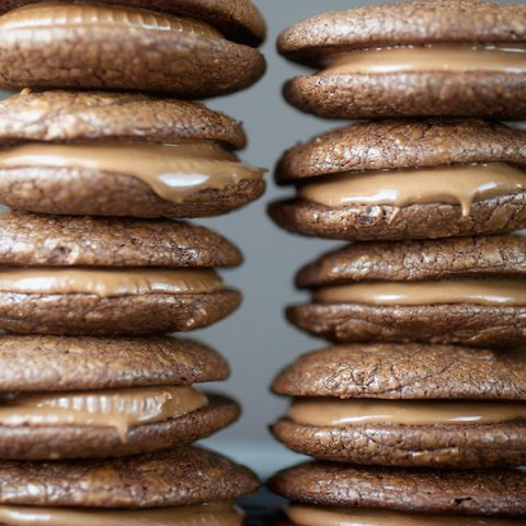 Peanut Butter Cup-Filled Brownie Sandwich Cookies