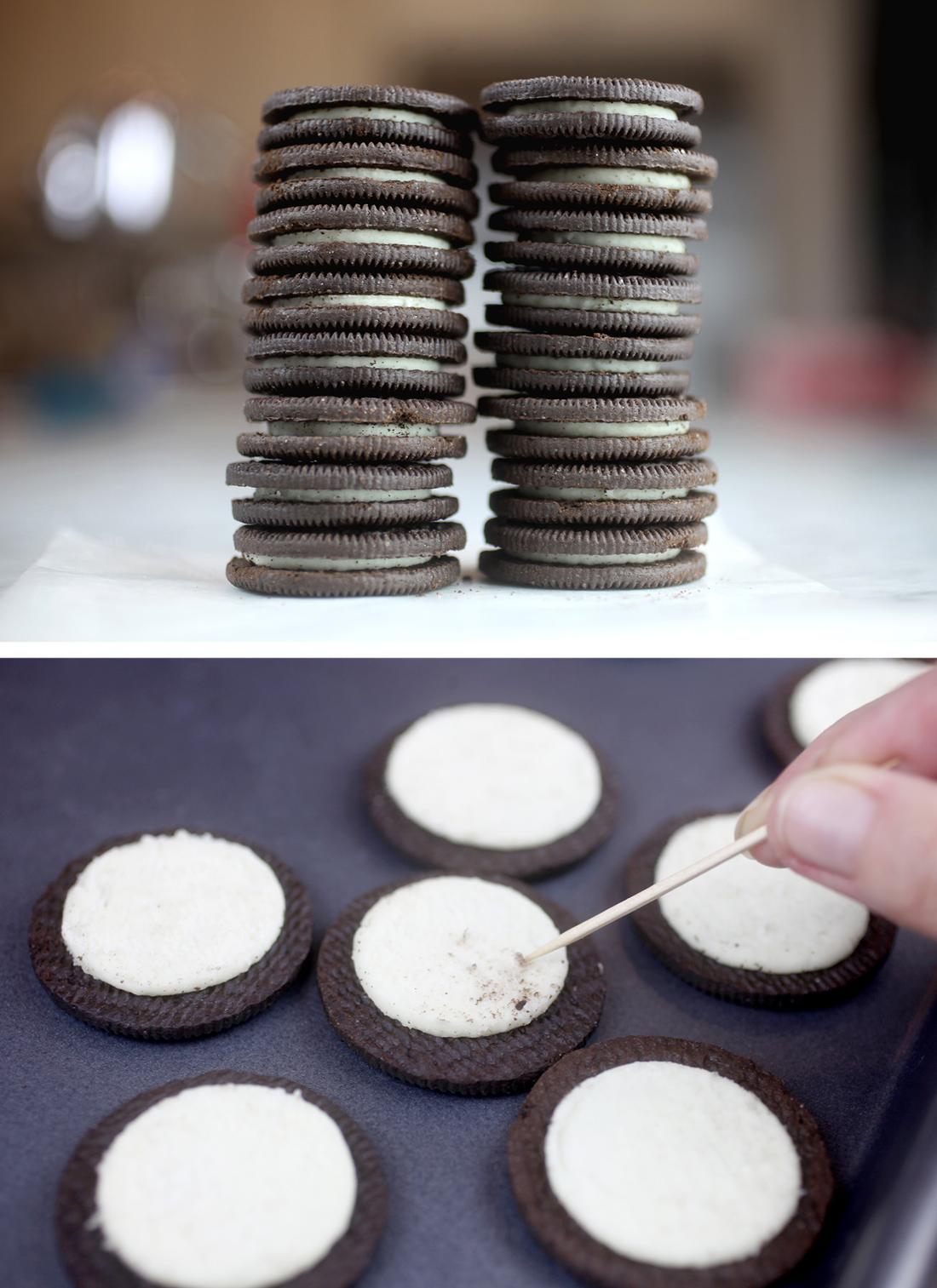 Separate Oreo cookies