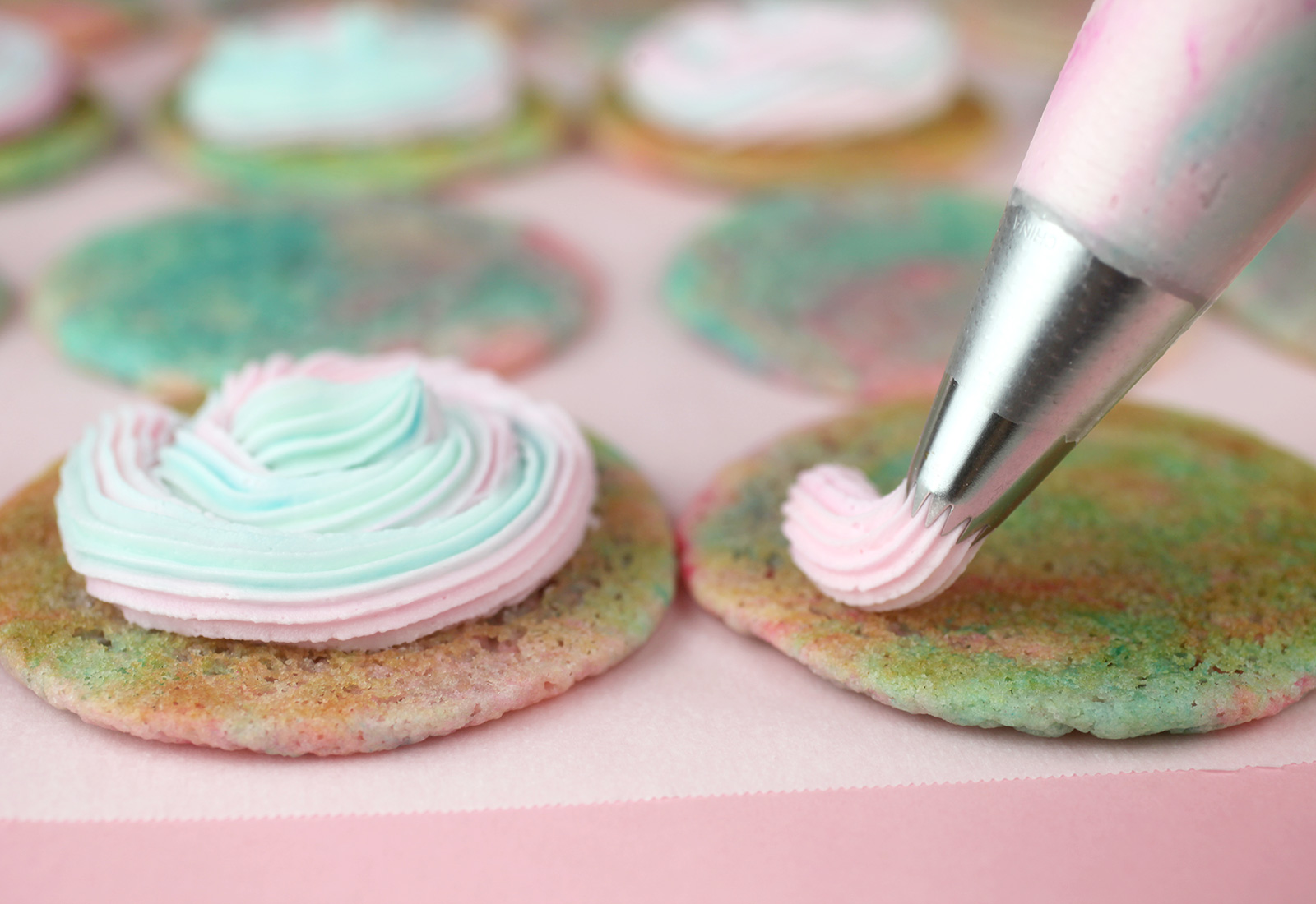 Piping Cotton Candy Cookies