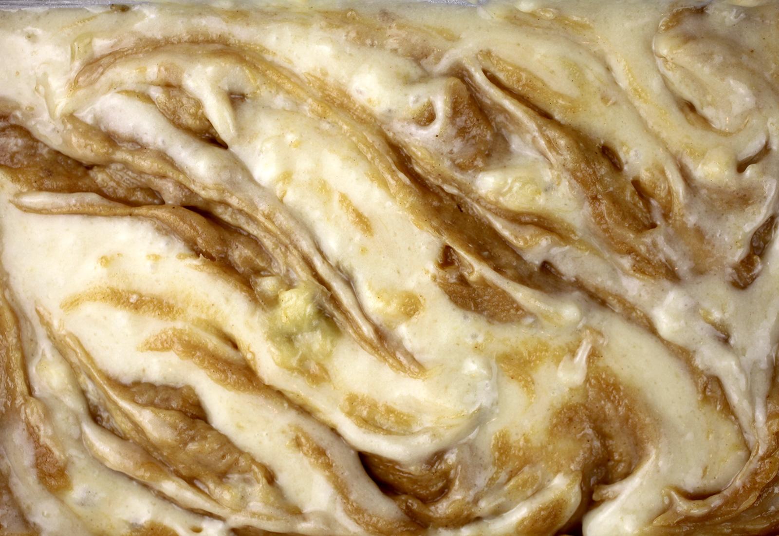 Peanut Butter Banana Bread Swirled Batter