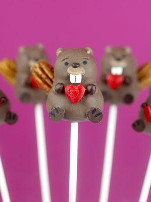 Beaver Cake Pops for Valentine's Day