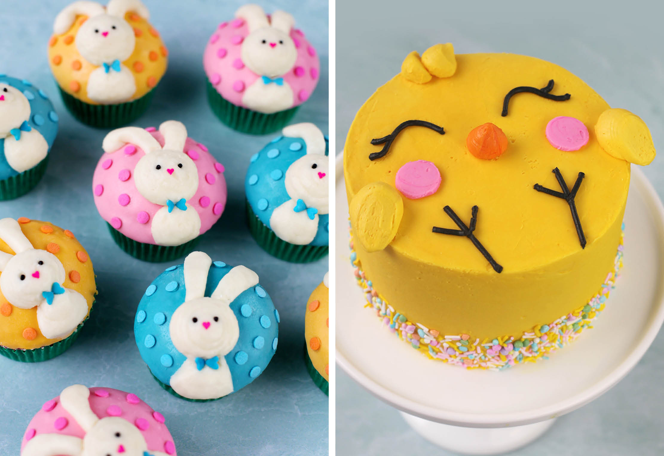 Easter Cupcakes and Chick Cake
